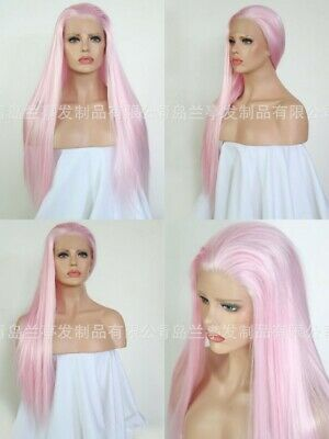 """AU 24"""" Party Straight Women Pink Synthetic Fiber Hair Lace Front Wig"""