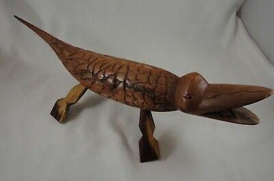 "Vintage Wooden Hand Carved Crocodile Alligator Figure Figurine 12.5"" Long"