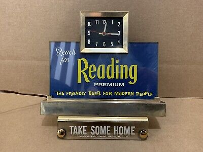 Vintage Reading Premium Beer Cash Register Light Clock Berks County PA Sign Keg