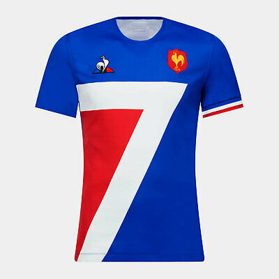 Le Coq Sportif Mens France 7s 2018/19 Home Short Sleeve Rugby Shirt Blue