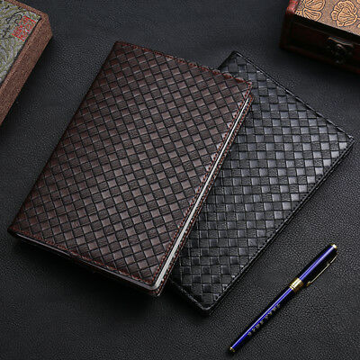 A5 Weaving Style Leather Cover Diary Notebook Journal Travel Business Planner