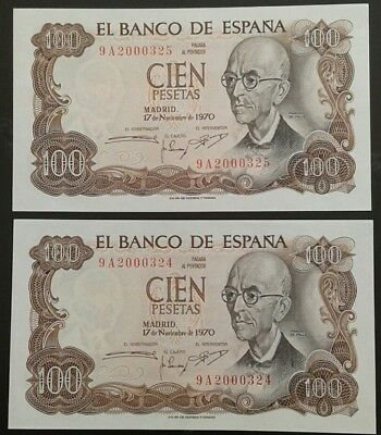 SPAIN _100 pesetas x 2 consecutive banknotes _ series 9A replacement _ p152 _UNC