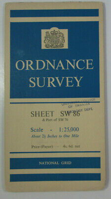 1951 Old Vintage OS Ordnance Survey 1:25000 First Series Map SW 86 Newquay