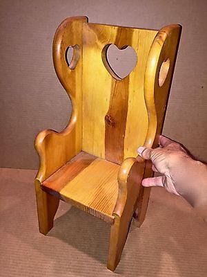 """Doll Chair Seat Pine Wood Hand Made Natural Heart Shape Theme High Back Toy 18"""""""