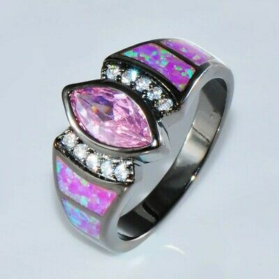 ~ Lovely, Cat's Eye Style Pink Sapphire & Opal Engagement Ring ~ Size 6 to 9 ~