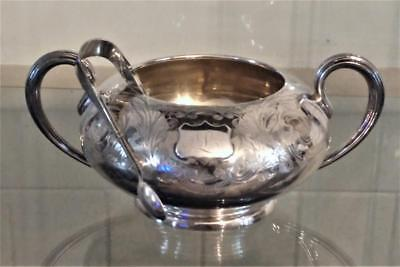 Fine Antique Elkington Silver Plated Encanthus Leaf 2 Handled Sugar Bowl & Tongs