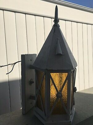 Antique  Arts & Crafts Copper Decorative Art Porch Lamp Light Sconce