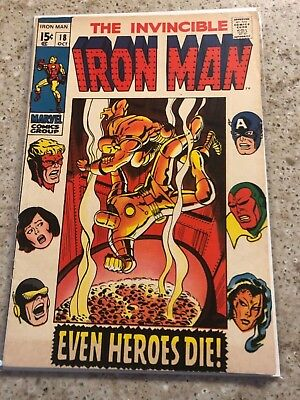 "Iron Man #18 (Oct 1969) ""Even Heroes Die!"" Avengers in this issue!"