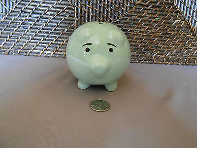 Decorative piggy bank pig figurine green ceramic hog