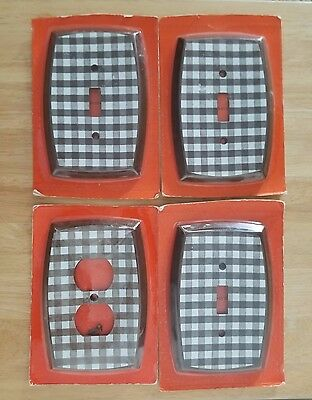 Vintage NOS brown & white plaid outlet cover & 3 light switch covers NIP antique