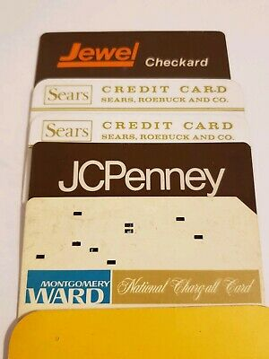 Vintage Sears JCPenny Montgomery Wards Jewel Checkcard and Credit Cards Lot of 5