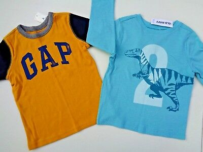 NEW lot of 2 Baby Gap Tee & Old Navy Tee Size 2T 2 Logo T-shirt boys toddler