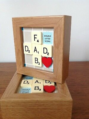 FAB DAD Cute Mini Frame With Vintage Scrabble Dad Birthday Gift