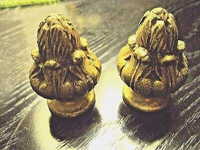 Pair of solid BRASS Finials / clock / drawer knobs -  5.5cms long x 4cms across