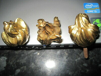 Vintage Brass finials- pair of unusual solid brass knobs/ decorative/ finials