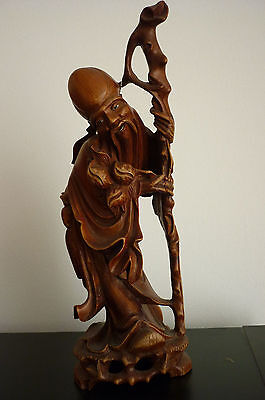 Ancienne sculpture statue bois CHINOIS
