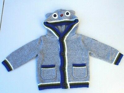 Gymboree Owl Cardigan Hoodie Sweater Baby Boys Clothes size 6-12m 6m 12m Ear