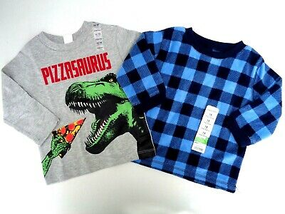 NEW Lot 2 Baby Gap & Beans Fleece Tee T-shirt Size 12-18 M Dino Boys Toddler