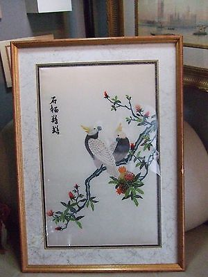 Vintage Art Framed JAPANESE Silk Signed Embroidery YELLOW CRESTED COCKATOO