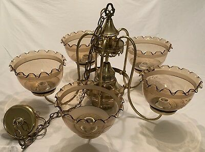 Victorian Styled Electric 5 Arm Light Fixture Etched Shade **Huge**