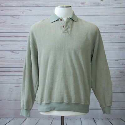 Orvis Men's Large L Long Sleeve Pullover Shirt Polo Collar Elbow Patch Green
