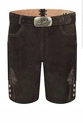 Genuine Leather Mens Bavarian Lederhosen Oktoberfest Choc Brown Short 30W
