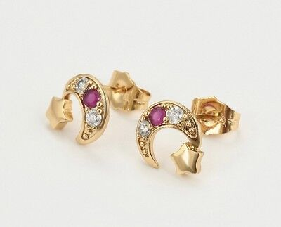 18ct Gold Filled GF Red Ruby Moon Star CZ Stud Earrings