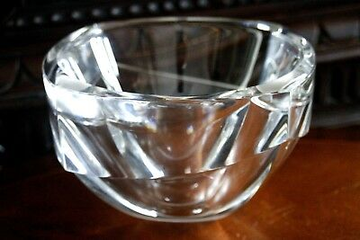 Mid Century Clear Glass Bowl, Large & Heavy Statement Piece, Scandinavian