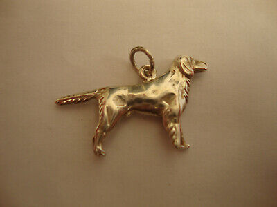 Old vintage retro 925 sterling silver retriever setter type dog charm not scrap