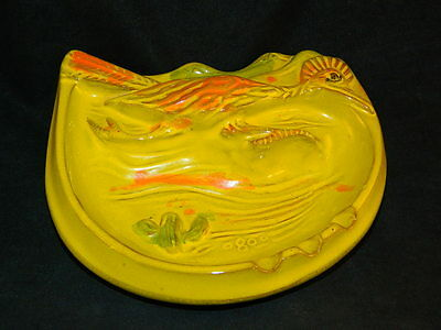 Vintage Pacific Stoneware Ashtray Roadrunner Signed Scarpino 1968 Ceramic Yellow