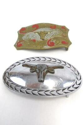 Lot of 2 Vintage Belt Buckles Longhorn Steer Head Oval Rectangle Mixed Metals
