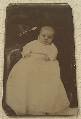 Vintage Antique Tintype Photograph Baby in Gown Newborn Infant