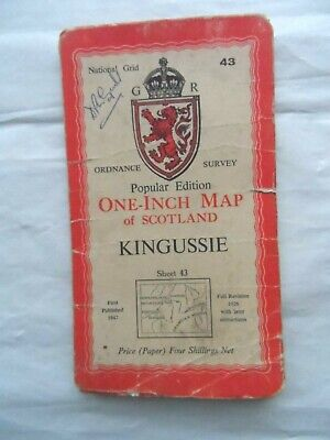 Vintage OS Ordnance Survey One Inch Map #43 Kingussie 1947