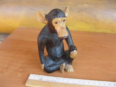 VINTAGE HAND CARVED WOOD MONKEY ANIMAL  , the Red tree . m