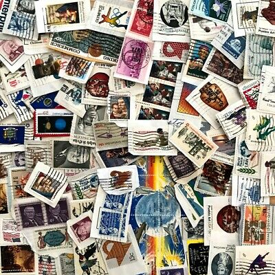 Quality Vintage Used Lot 100 US Stamps NO Duplicates ON Paper FREE Shipping