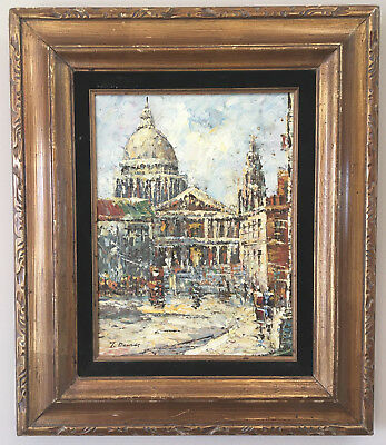 Vintage OIL PAINTING of THE VATICAN Original Impressionism Signed T. Dennis