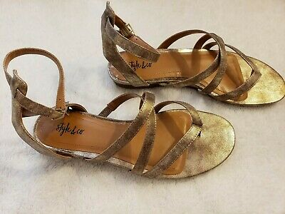 d5be40d7247ff STYLE & CO. Womens Bahara Open Toe Casual Strappy Sandals, Gold ...