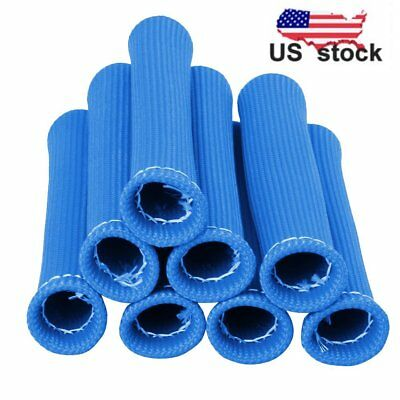 Blue 8Pcs 1200° Spark Plug Wire Boots Heat Shield Protector Sleeve Sbc Bbc Us