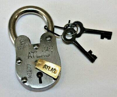 Large Antique Vintage Style Lock Replica Atlas Padlock & 2 Skeleton Keys Jailer