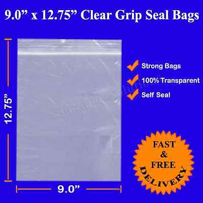 Grip Seal Resealable Self Seal Clear Poly Plastic Bags 9 x 12.75 Good Quality A4