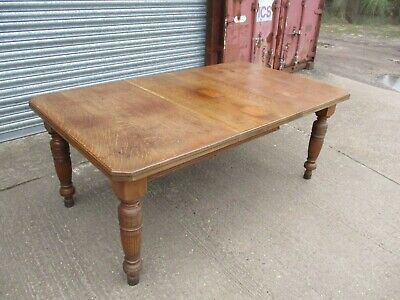 A 19th Century Victorian Oak Wind Out Extending Dining Table Solid Rectangular