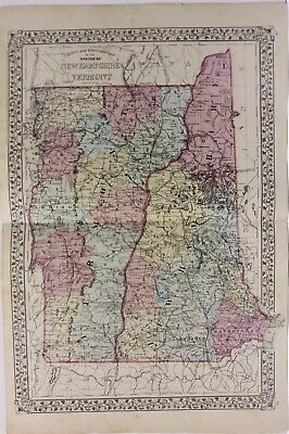 Vermont and New Hampshire map 1881  Hand Colored Mitchell *****  ORIGINAL ******