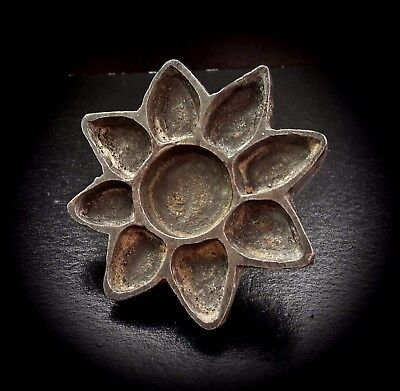 Antique Bronze Near Eastern Sun/Star/Flower Bread Stamp