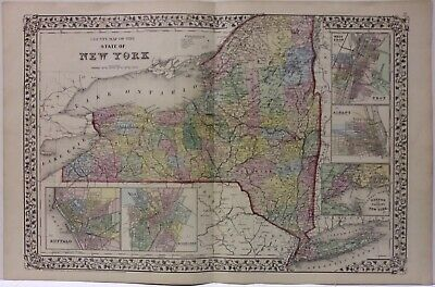 New York State map 1871 Hand Colored Mitchell  ************  ORIGINAL **********