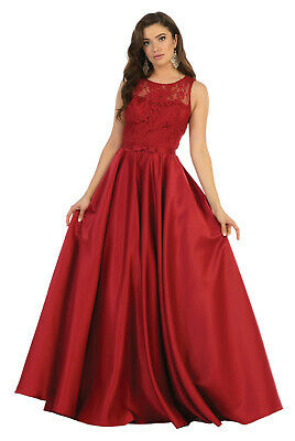 432440754f New Special Occasion Formal Evening Prom Dress Marine Ball Bridesmaid Satin  Gown