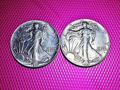 Vintage Lot of 2 1987 American Silver Eagle Series One Dollar Fine Silver One Oz