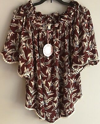 NEW Umgee Women's Boho Off Shoulder Top Size Small Tropical Cotton Bell Sleeves