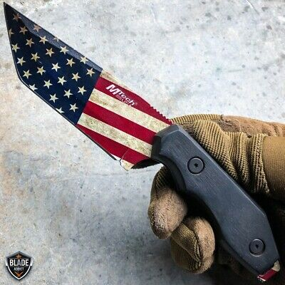 """8.25"""" Tactical AMERICAN USA FLAG FIXED BLADE Cleaver Hunting Camping Knife Wood"""
