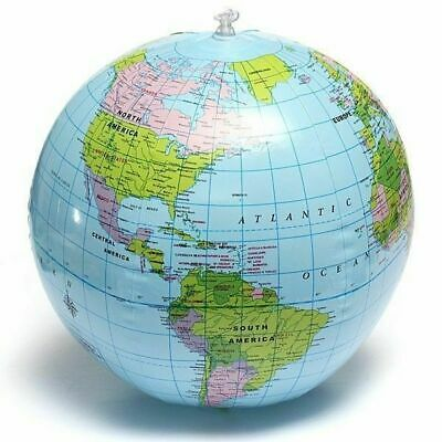 Inflatable World Globe Earth 38cm Teaching Geography Map Beach Ball Kids Toy