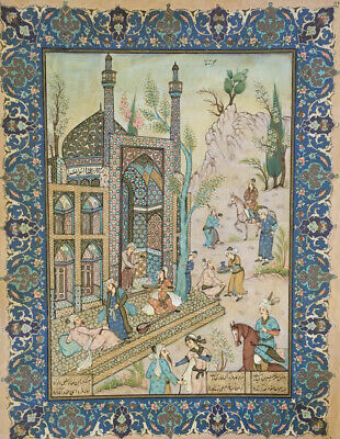 Antique Islamic Persian Miniature Painting by Famous Listed Artist Rohani Signed